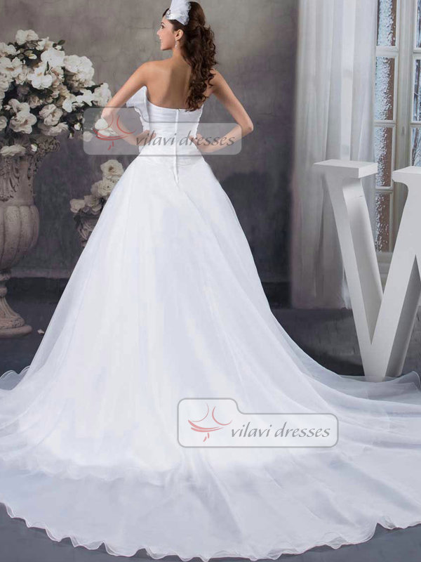 Ball Gown Strapless Court Train Organza Flower Wedding Dresses