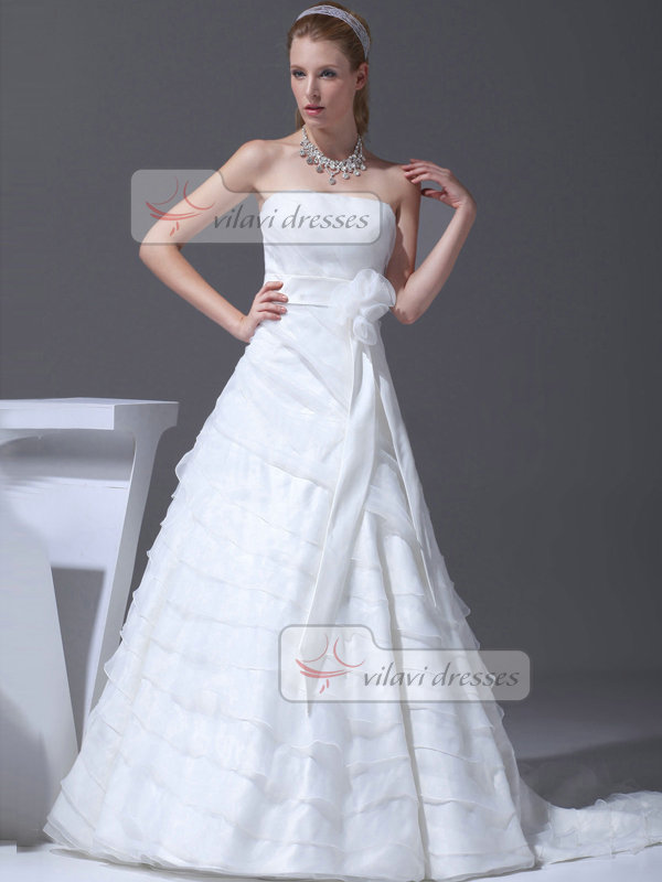 A-line Tube Top Sweep Organza Flower Sashes Tiered Wedding Dresses