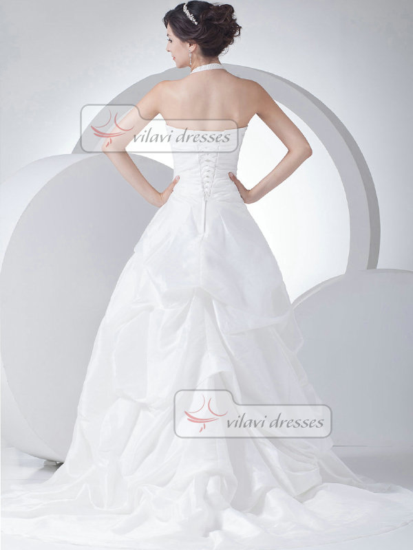 Over Hip Halter Brush Train Organza Pick-Ups Wedding Dresses