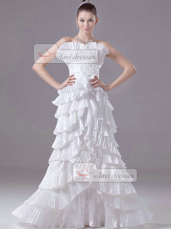 A-line Scalloped-edge Floor-length Taffeta Tiered Wedding Dresses