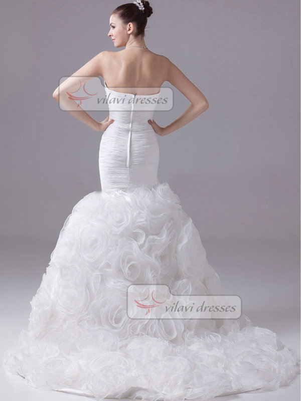 Mermaid Sweetheart Sweep Organza Beading Flower Ruffle Wedding Dresses