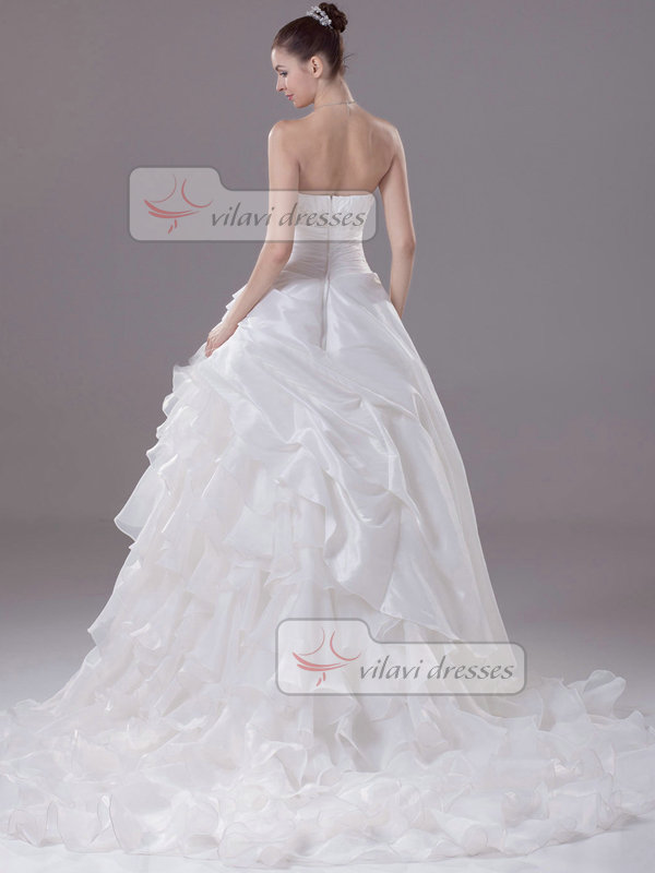 A-line Tube Top Brush Train Organza Crystal Tiered Wedding Dresses