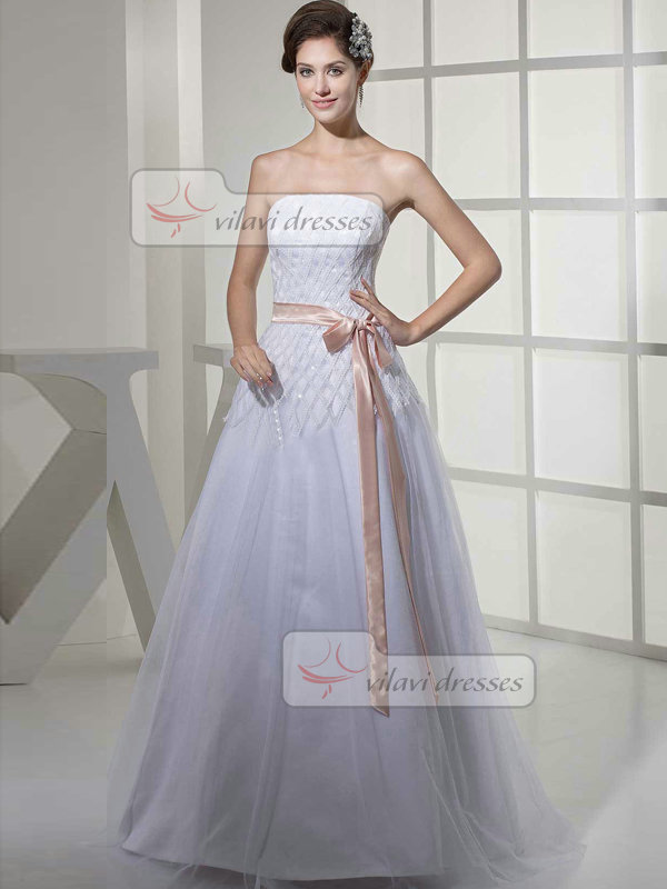 A-line Tube Top Floor-length Tulle Sequin Sashes Wedding Dresses