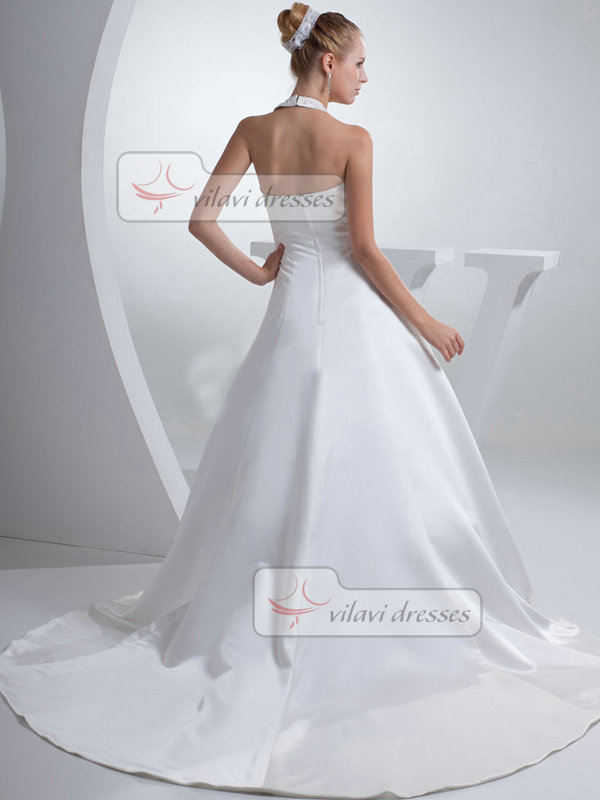 A-line Halter Brush Train Satin Crystal Wedding Dresses
