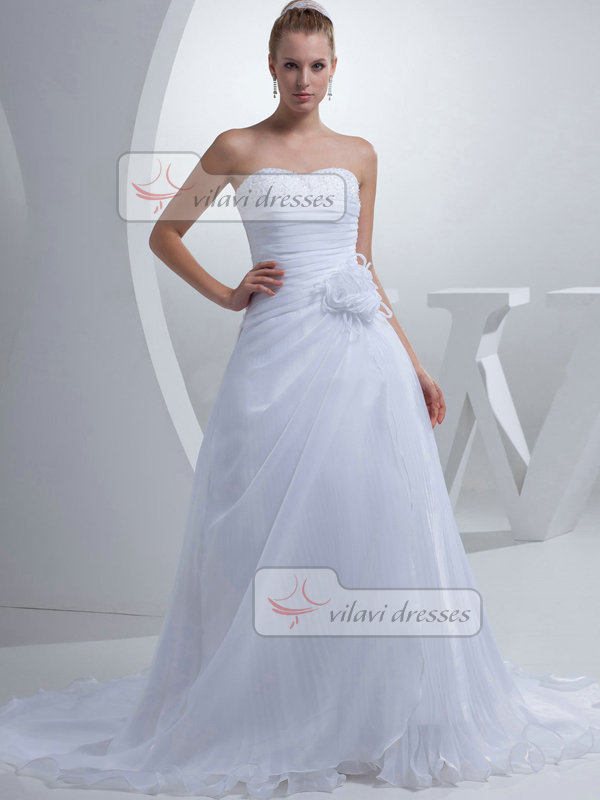 A-line Sweetheart Sweep Chiffon Flower Tiered Crystal Wedding Dresses