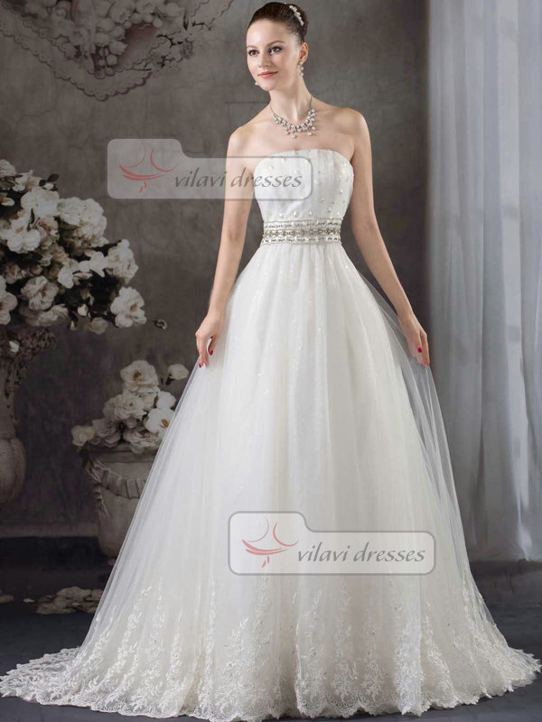 A-line Tube Top Brush Train Tulle Crystal Beading Wedding Dresses