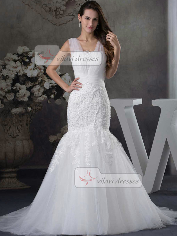 Mermaid Straps Brush Train Tulle Crystal Wedding Dresses