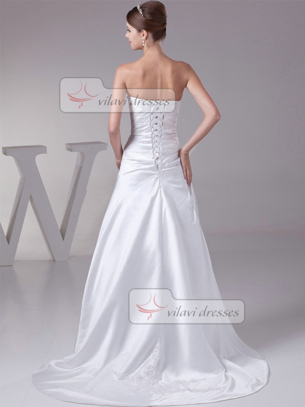 Over Hip Sweetheart Strapless Sweep Satin Tiered Wedding Dresses