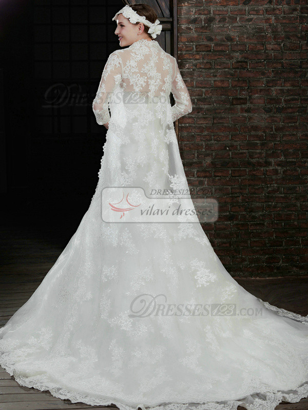 Noble 3/4 Length Sleeve Lace Bridal Jacket/Wedding Wrap Size 2 And Size 4