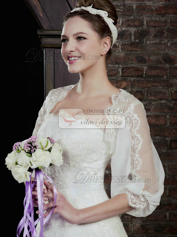 Lovely 3/4 Length Sleeve Lace Bridal Jacket/Wedding Wrap