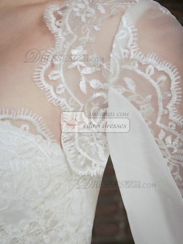 Lovely 3/4 Length Sleeve Lace Bridal Jacket/Wedding Wrap Size 2 And Size 4