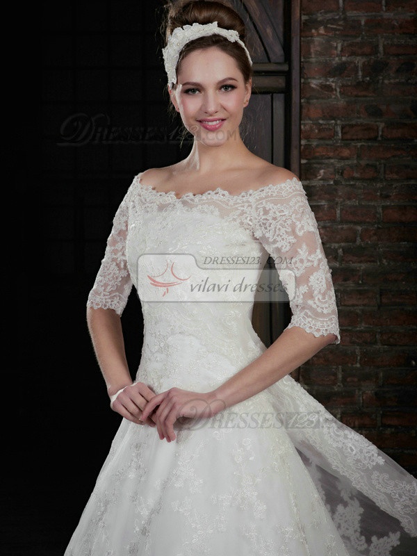 Glamorous Half Sleeve Lace Bridal Jacket/Wedding Wrap