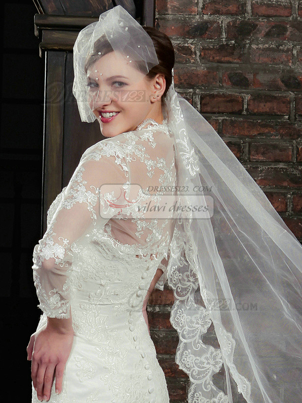 Precious Long Sleeve Lace Bridal Jacket/Wedding Wrap