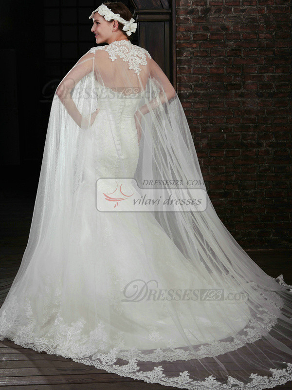 Brilliant Sleeveless Lace Wedding Shawl/Wedding Wrap