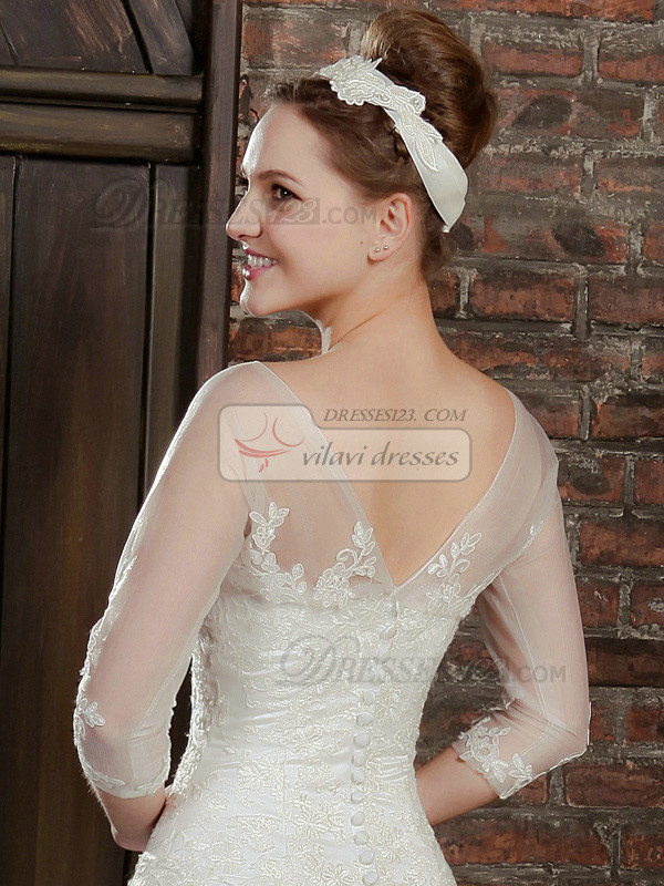 Fabulous 3/4 Length Sleeve Lace Bridal Jacket/Wedding Wrap