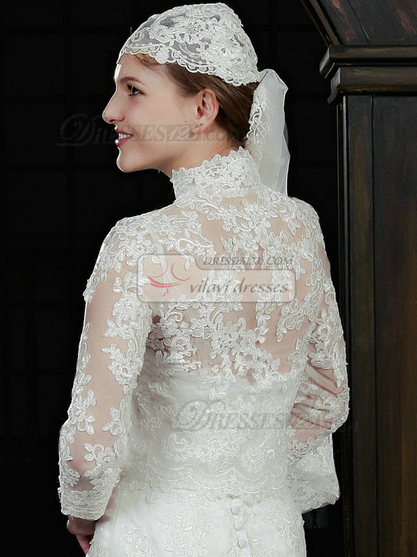 Retro 3/4 Length Sleeve Lace Bridal Jacket/Wedding Wrap