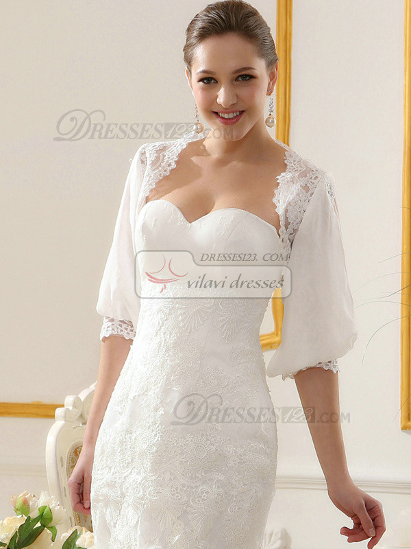 Pure Color Clic Lace Bridal Jacket Wedding Wrap