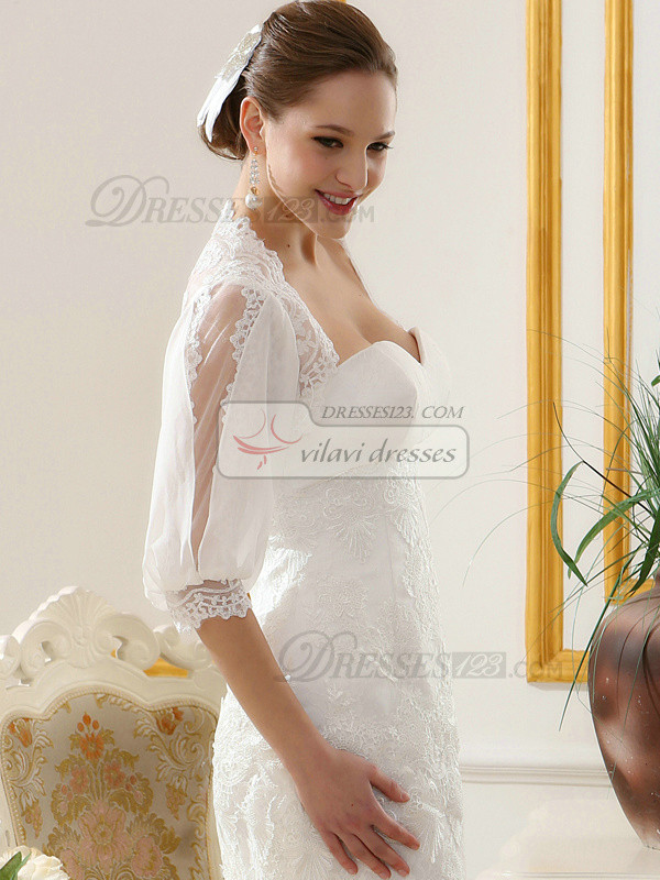 Pure Color Classic Lace Bridal Jacket/Wedding Wrap