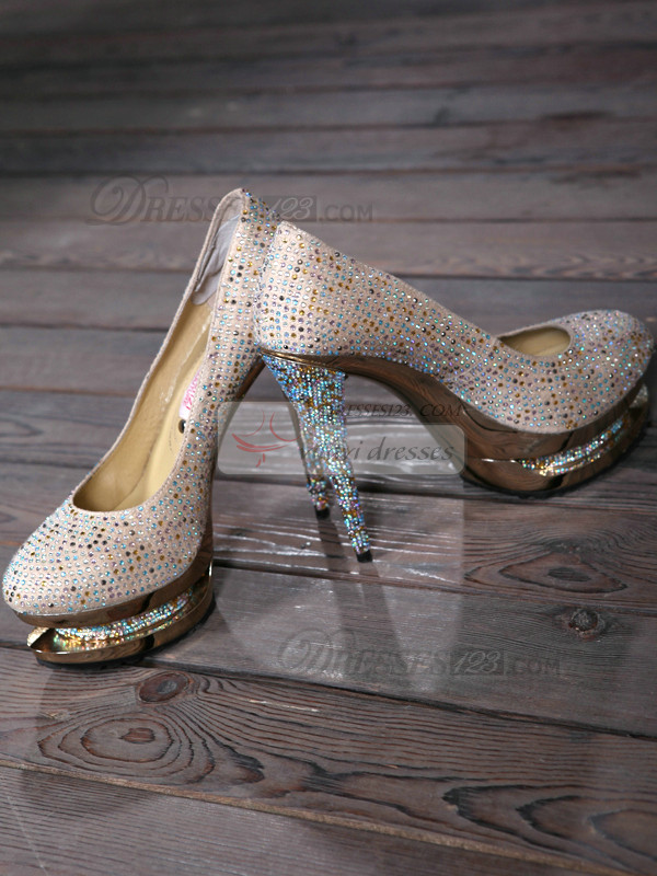 Shining Rhinestones Upper Stiletto Heel Round-toe Platform Wedding Shoes