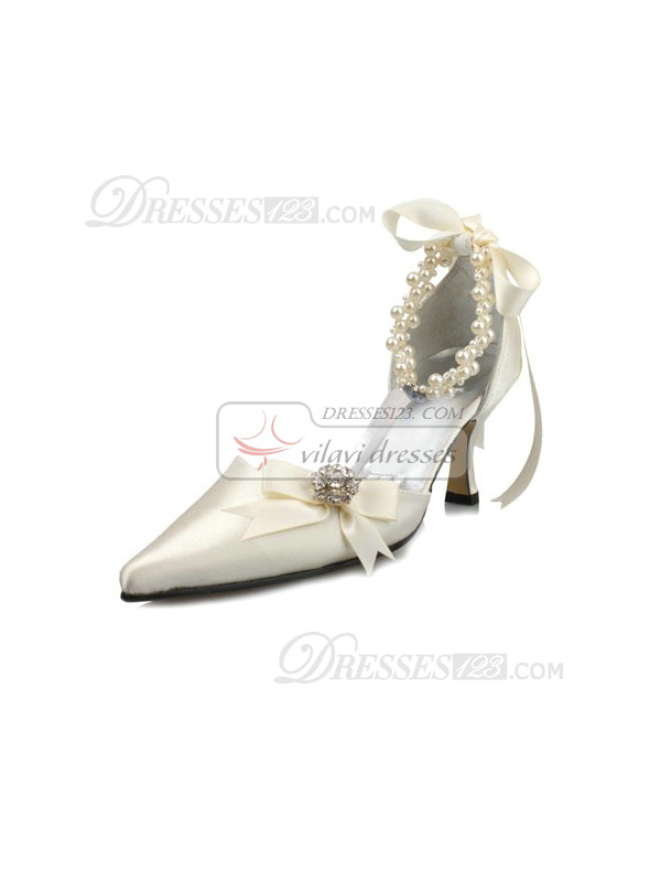 Satin Upper High Heel Pumps Closed-toes Rhinestone Wedding Shoes With Anklet