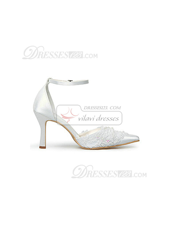 Fashion Lace Upper Mid Heel Pumps Wedding Shoes With Hasp