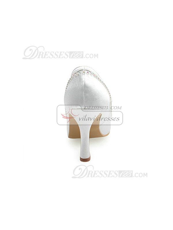 Satin Upper Mid Heel Closed-toes Wedding Shoes With Rhinestones