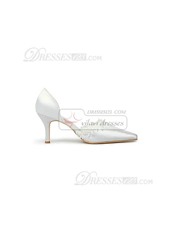 Fashion Lace Upper Mid Heel Pumps Wedding Shoes