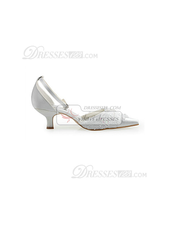 Beautiful Lace Upper Mid Heel Pumps Wedding Shoes With Hasp