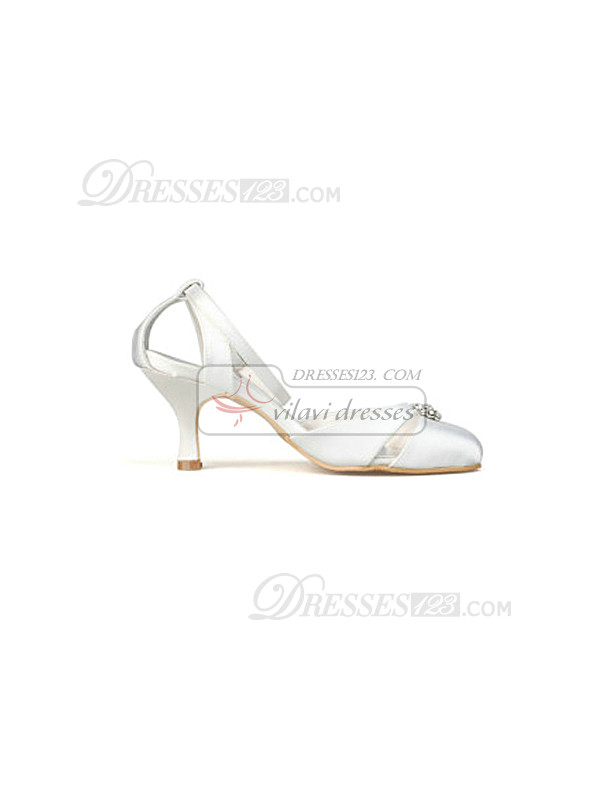 Mid Heel Closed-toes Slingback Wedding Shoes With Rhinestones