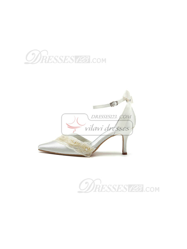 Satin Upper Mid Heel Pumps Wedding Shoes With Flowers and Hasp