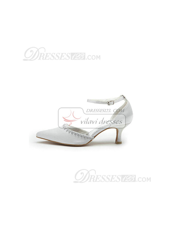 Satin Upper Mid Heel Closed-toes Rhinestone Wedding Shoes with Hasp