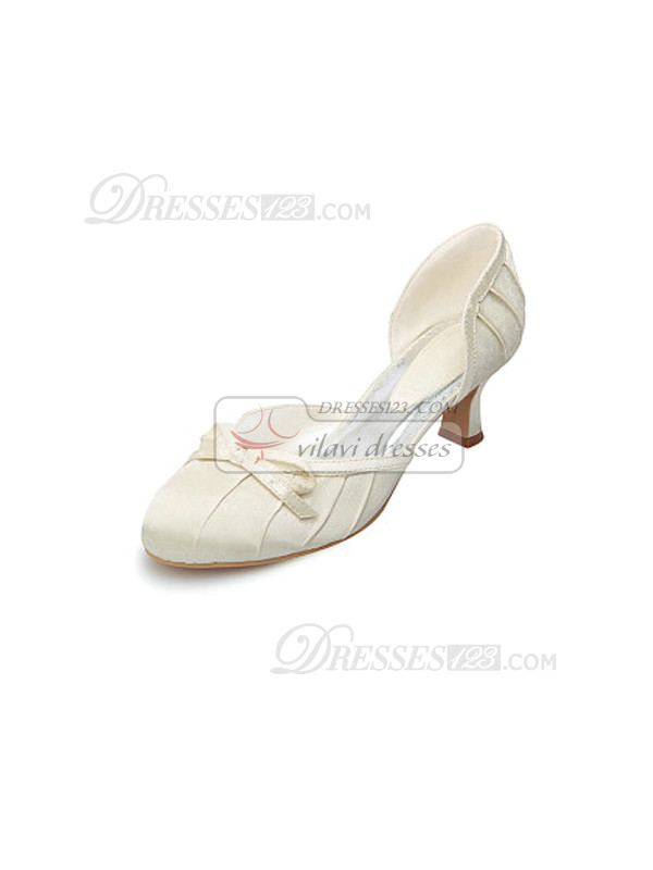 Satin Upper Chunky Heels Closed-toes Wedding Shoes With Bow