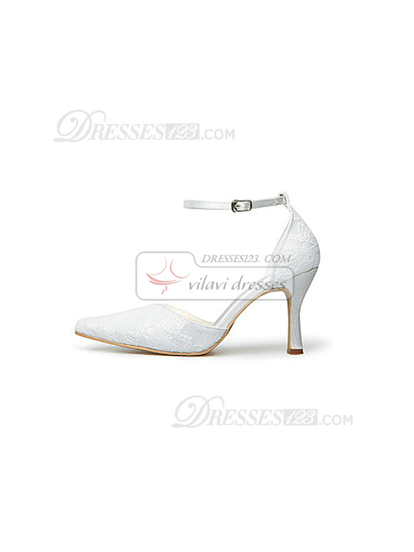 New Lace Upper Mid Heel Pumps Wedding Shoes With Hasp