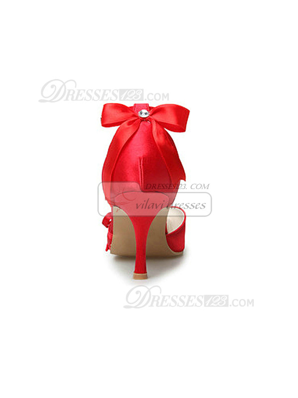 Red Satin Stiletto Heels Closed-Toe Wedding Shoes With Bow
