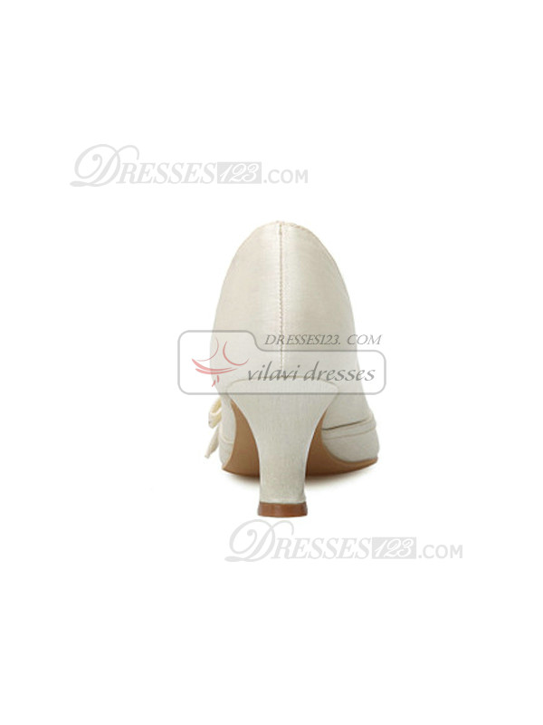 High Quality Upper Mid Heel Closed-toes Wedding Shoes  With Ribbon