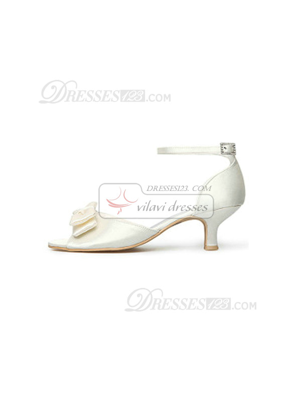 Satin Upper Mid Heel Pumps Wedding Shoes With Bow and Hasp