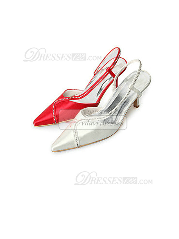 Red Satin Upper Mid Heel Closed-Toes Rhinestone Wedding Shoes