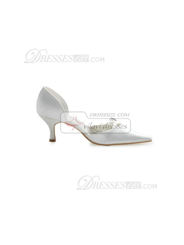 White Satin Stiletto Heels Closed-Toe Wedding Shoes With Hasp