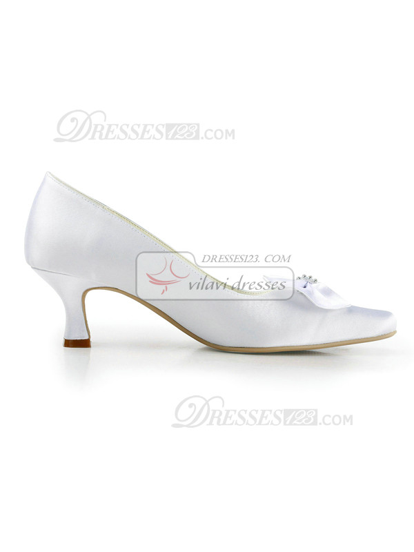 Satin Upper Chunky Heels Closed-Toe Wedding Shoes With Bow