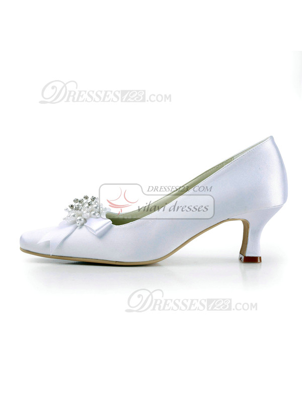 Satin Upper Chunky Heels Closed-Toe Wedding Shoes With Beads