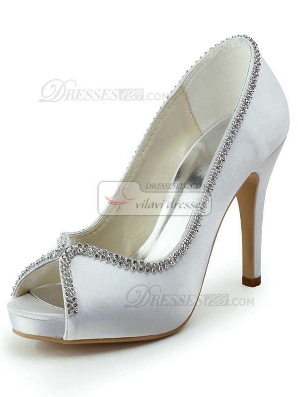 Satin Stiletto Heel Peep Toe Rhinestone Wedding Shoes