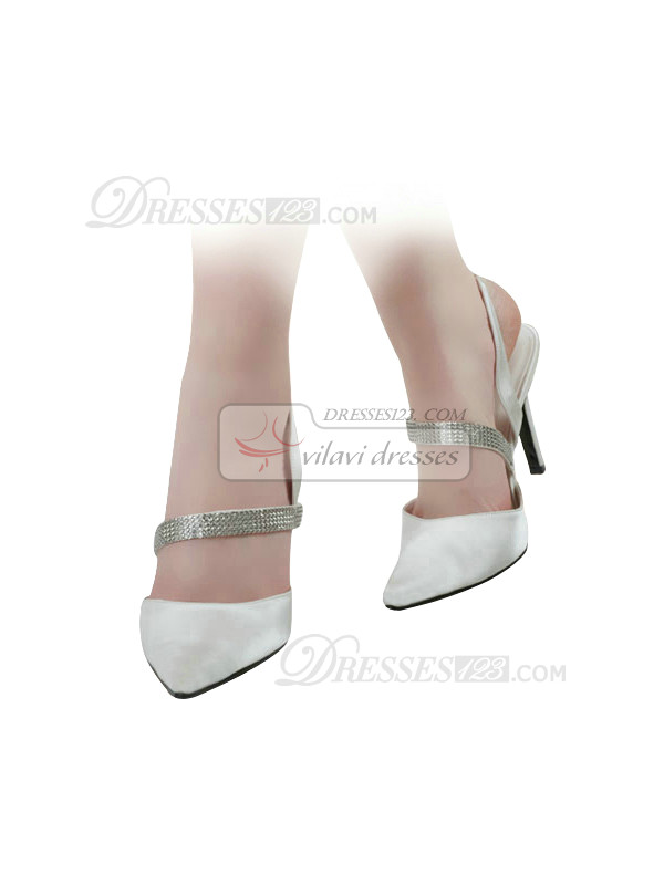 Satin Upper Stiletto Heel Slingbacks Wedding Shoes With Rhinestones