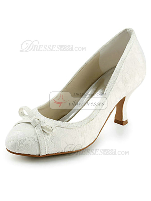 Lace Upper High Heels With Bowknot Wedding Shoes