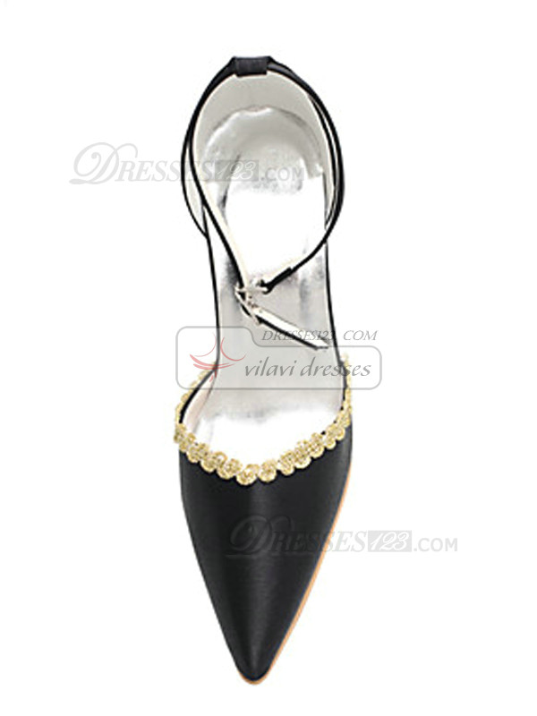 Satin Upper High Heel Closed-toes Beading Wedding Shoes