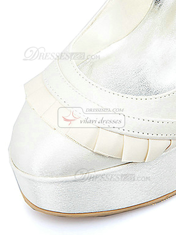 Satin Upper High Heel Closed-toes Platform Wedding Shoes