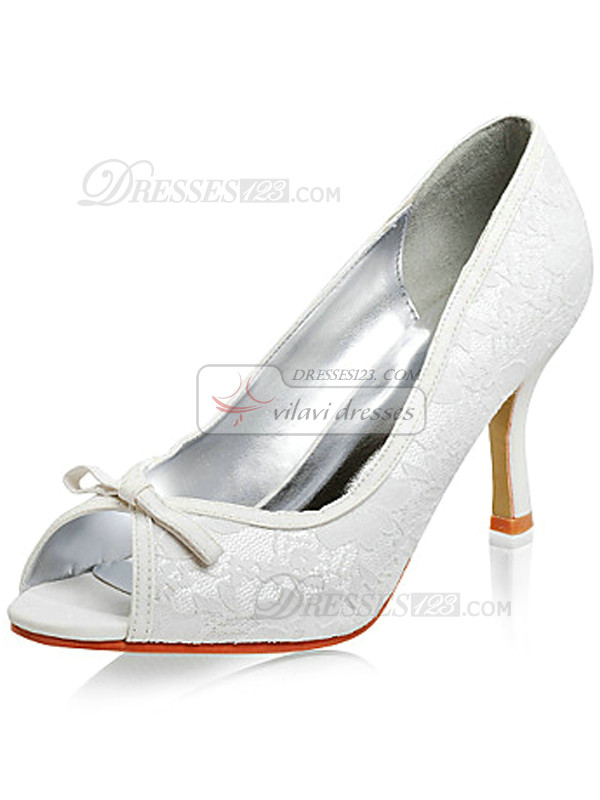 White Lace Upper Stiletto Heel Peep Toe Wedding Shoes With Glitter Powders