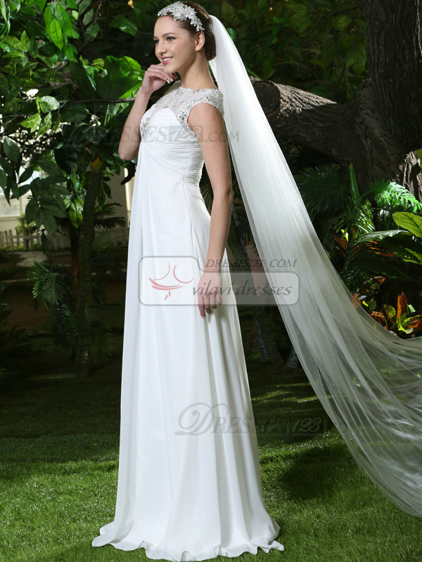 Two Layers Tulle Cathedral Length Cut Edge Wedding Veil