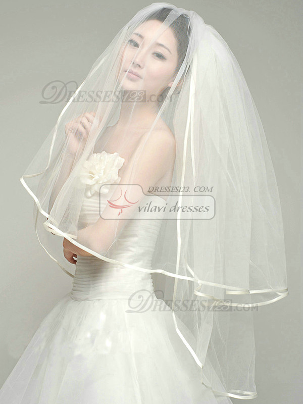 Two Layers Tulle Fingertip Length Ribbon Edge Wedding Veil