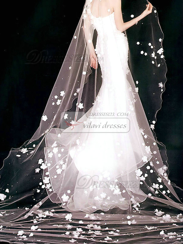 Single Layer Tulle Cathedral Length Penci Edge Wedding Veil