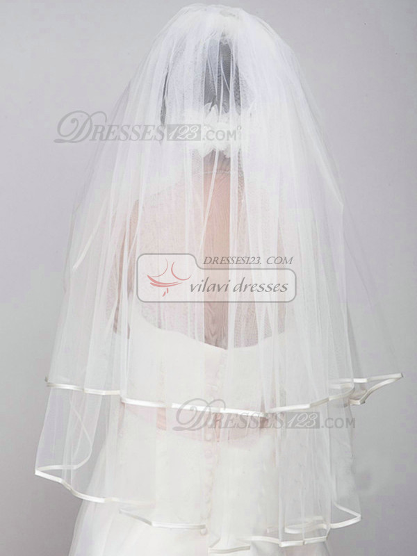 Single Layer Tulle Waltz Length Ribbon Edge Wedding Veil